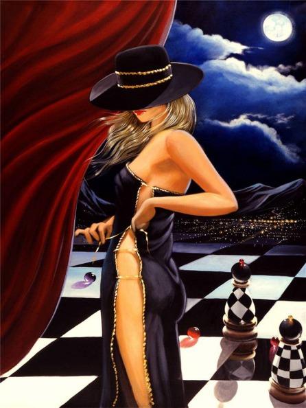 0496-sexy-blond-girl-moonlight-skirt-font-b-chess-b-font-POSTER-24x32-inch